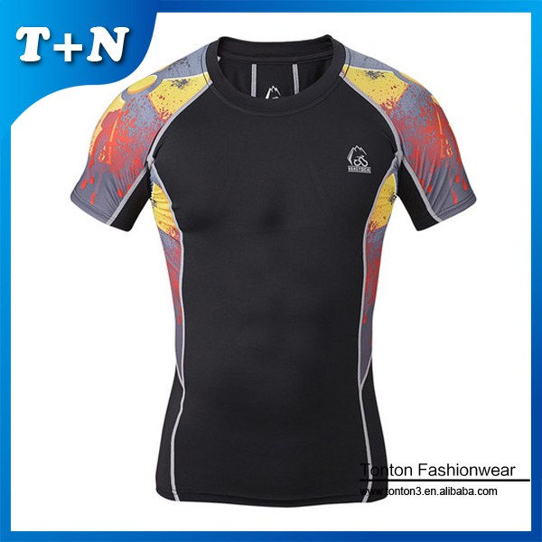 Wholesale sublimation short sleeve compression gym shirts men fitness