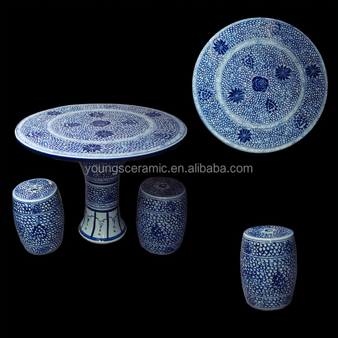 Chinese antique blue and white ceramic porcelain garden table and stool with flower design