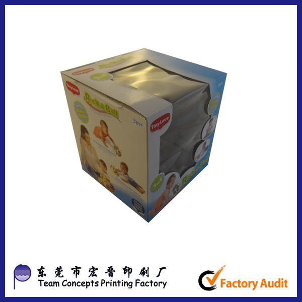 glossy varnish die cut corrugated carton packaging box with window