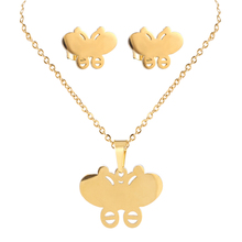 Newest Design Gold Friendship Necklace Indian Necklace Set Metal Butterfly Pendant for Women