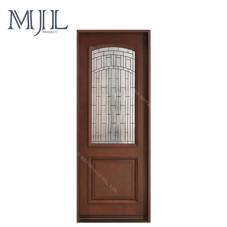 China Supplier Morden Latest Design Fireproof Interior Tempered Glass Wooden Fairy Room Gate Teak Wood Door Models