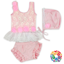 Pink Floral Lace Ruffles Little Girls Beachwear 3 Pcs Set Girls Beach Wear