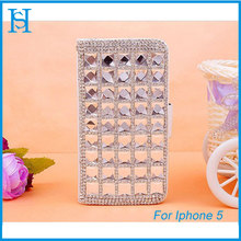 Square Diamond PC Leather Magnetic Flip Case For Iphone 5/5S EXW price:USD 2.4