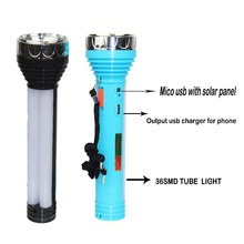 2016 New design 5v mico usb output high powerful tube torch light long distance solar torchlight