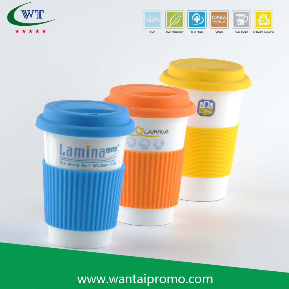 Eco Friendly Latest Cheap Ceramic With Silicone Lid Plain White Coffee Mugs
