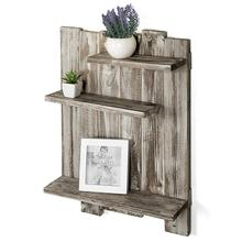 new products Rustic Torched Wood Pallet-Style Wall Mounted 3-Tier Decorative Display <strong>Shelf</strong>