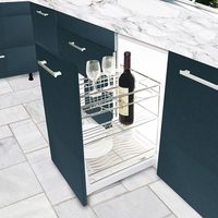 stainless steel kitchen basket with sliding drawer
