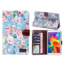 Flower Leather Wallet Case For Samsung Galaxy Tab 4 7.0 T230
