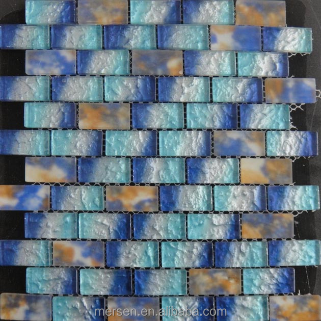 MSQQ6655 23x48mm Rectangle Shape Mix Crystal Glass Mosaic Tile For Backsplash