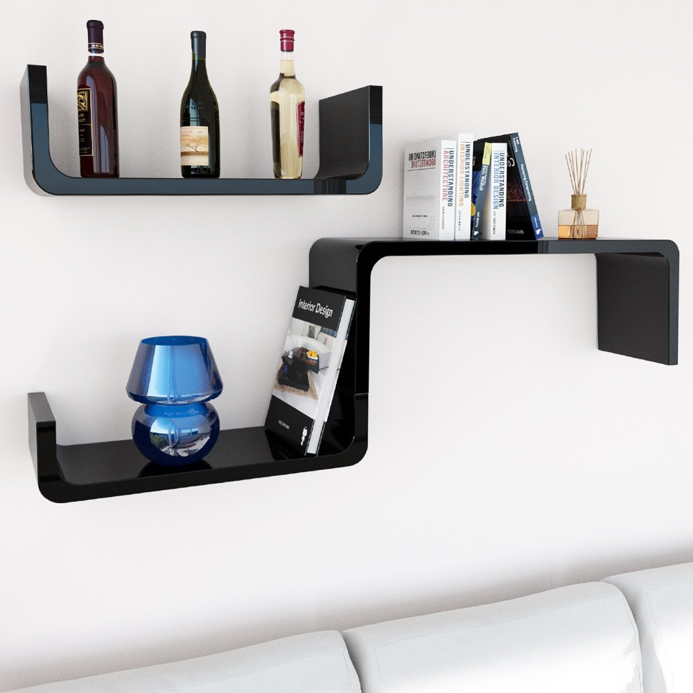 home furniture floating u shape wall shelves in corner