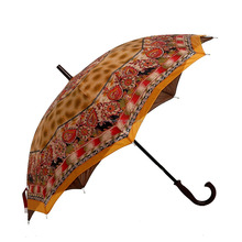 "Cheap 23"" 16 ribs double layer flower shape waterproof straight rain umbrella"