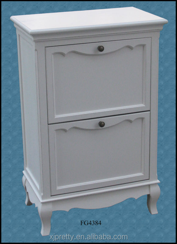 white painted wooden shoe cabinet / wooden indoor furniture / wooden living room furniture