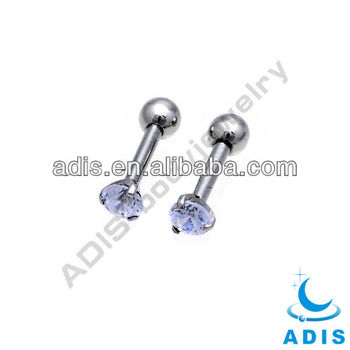 Crystal Paved Straight Barbell Tongue Ring