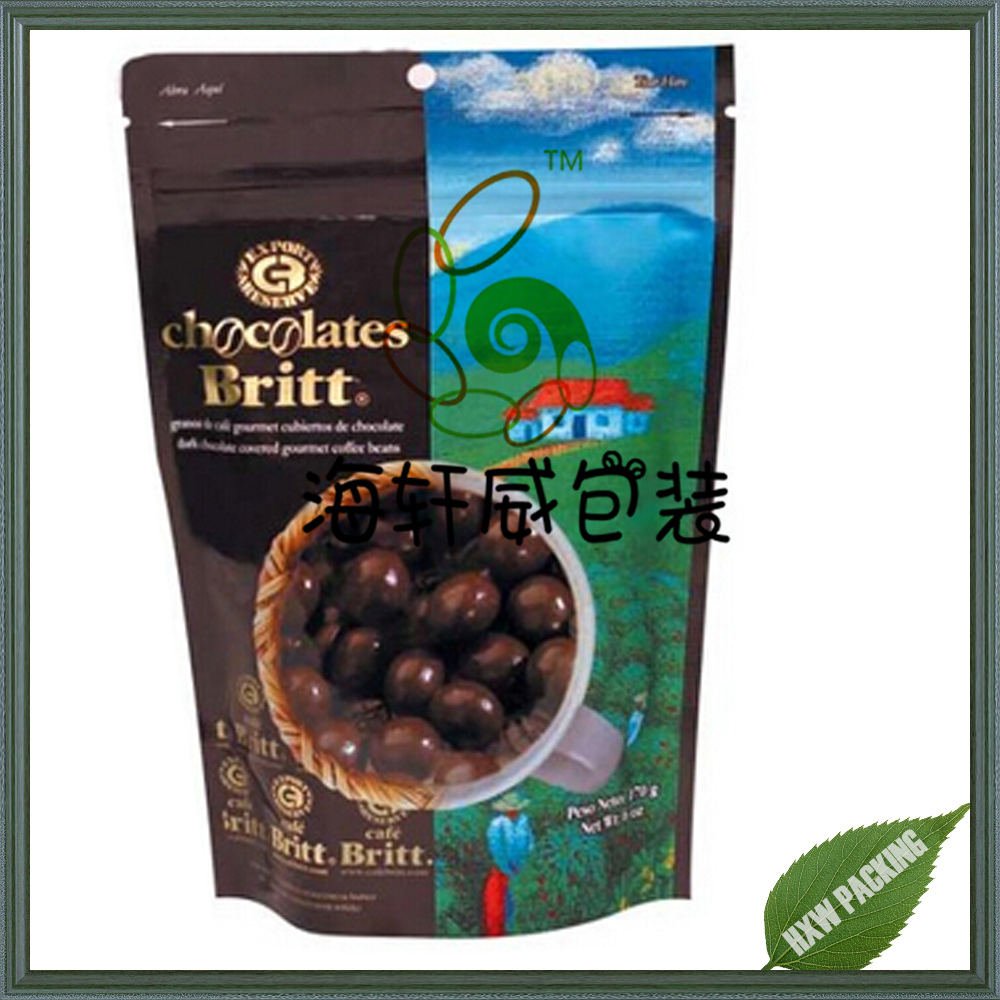 China manufacture chocolate snack plastic packaging bag with moisture proof zipper