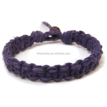 cheap braided hemp rope bracelet with wood bead