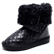 China Fashion Warm Womens Quilted Fur trim 2017 snow boots OCH41