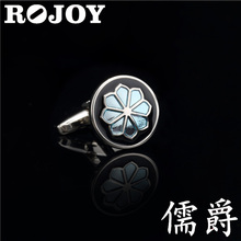 The round shape dripping orchid cufflinks for mens shirts