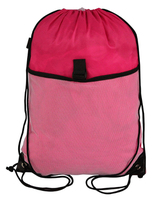 Promotional drawstring backpack with mesh pocket for wholesale