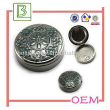 Zinc Alloy Round Metal Jewelry Box With Magnets