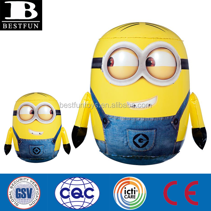 Hot sale cartoon movie character despicable me inflatable minion Dave 3D bop bag pvc bounce back toy