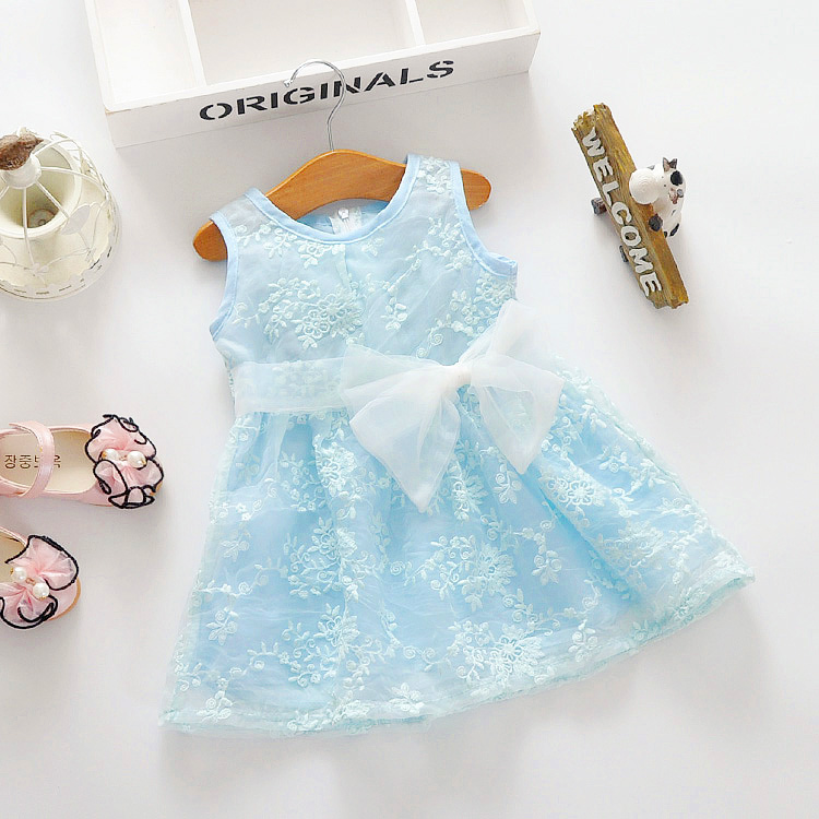Little Girls Flower Dress with Ribbon Waist Bow Pretty Fancy Lace Design
