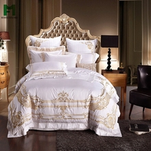 Hafei luxury palace style royal white embroidery bedding sets china supplier bed sheets