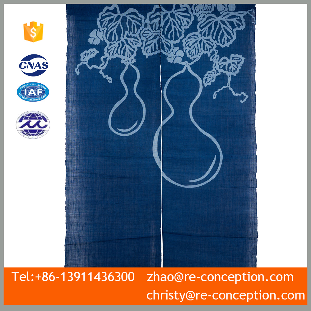 Modern Fabric 100% Linen Blue Calabash Pattern Screen Door Curtain
