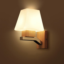 modern wood wall bracket light with glass lamp shade