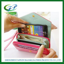wholesale ladies big size bifold wallet with cell phone pocket