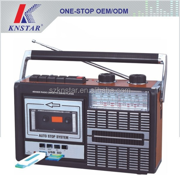 Portable radio cassette with USB SD music player