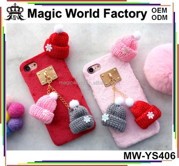 Cute Lovely Knitted Cap Fluffy Hard Cover For iPhone 7 Beanie Hat Case