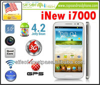 "iNew i7000 Quad Core 3G Smartphone w/ MTK6589 1.2GHz 5.0"" HD Screen 1GB+16GB Android 4.2 8MP Camera WiFi BT GPS+AGPS - White"