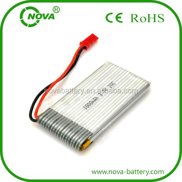 903048 3.7v rc helicopter lithium battery 1000mah 752540