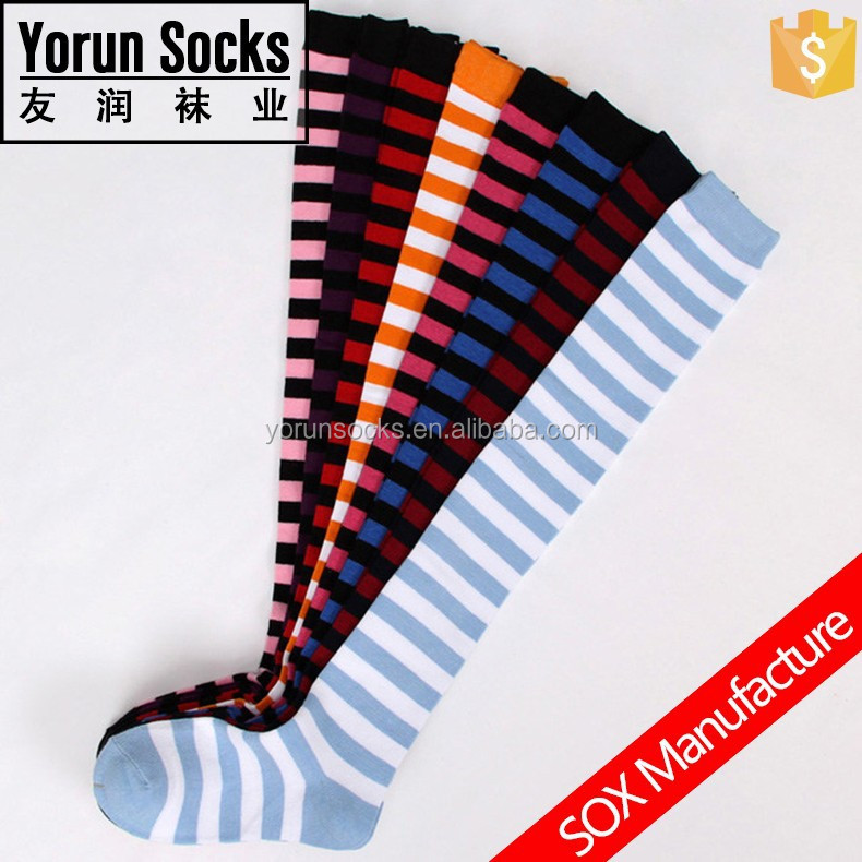 Customized Women Stripe Over the Knee Stockings Colorful Cotton Socks