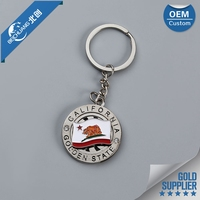 Factory promotion custom company logo round 3d metal key chain with photo