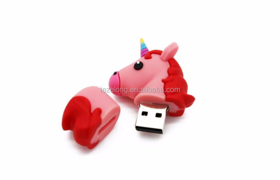 newest cartoon pvc unicorn emoji usb flash drive usb disk pen drive memory stick