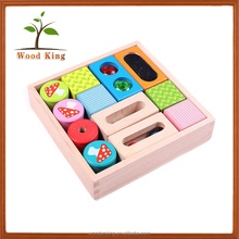 Big Sensory Rubber Wooden Children Early Teach Jigsaw Puzzle Heap Colored Wisdom Square Building Block Toys For Kids