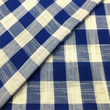 Blue and White Check Knitting Fabric for Shirts with Regenrated Cotton and Polyester Yarn