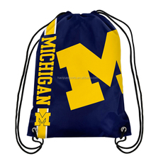 Wholesale Promotional Custom Printed Polyester Michigan College NCAA Rugy Event Nylon Drawstring Bag