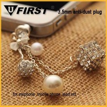 new design round bling ball earphone jack dust cap plug with chain