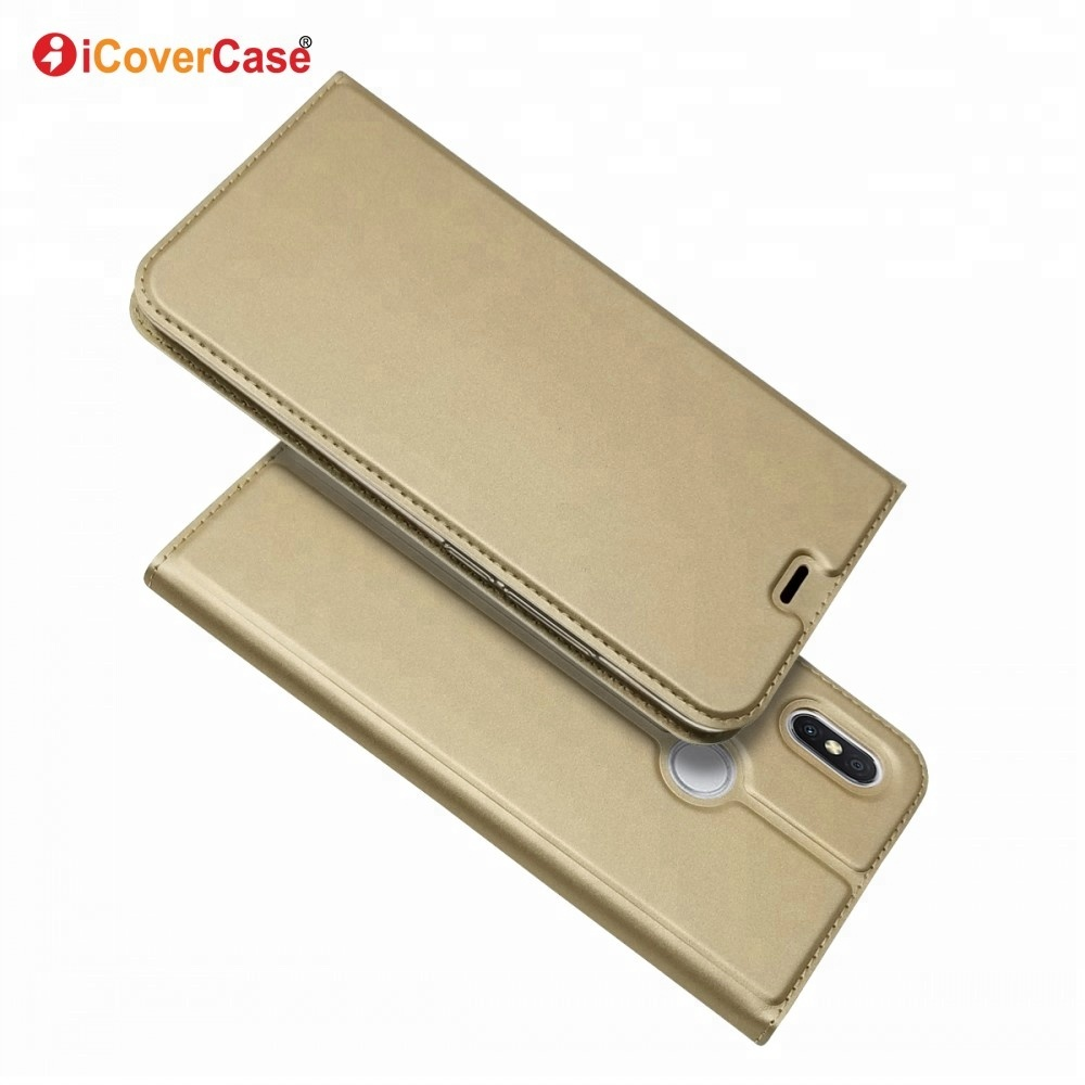 iCoverCase Glossy Cases Plain Leather Magnetic Wallet Flip Case Carcasas Celular For Xiaomi Redmi S2 <strong>Y2</strong> Mobile Cover