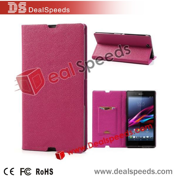 Rose Litchi Skin Genuine Leather Flip Wallet Stand Case for Sony Xperia Z Ultra XL39h C6806 C6802