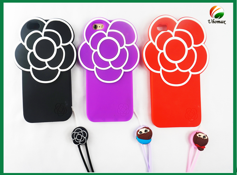 2016 UHOMAX Mobile phone handbag silicone case for iphone 6s with flower