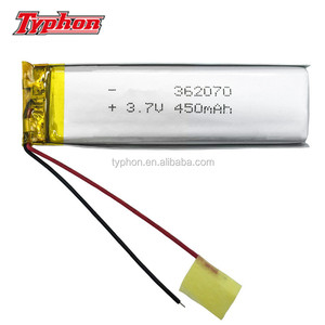 lithium polymer 352070 3.7v 450mah rechargeable battery pack 362070 lipo battery for gps gprs