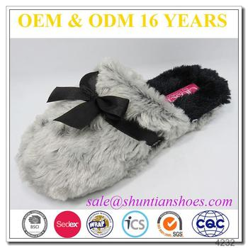 New fashion faxu fur with satin bow winter warm indoor woman slipper