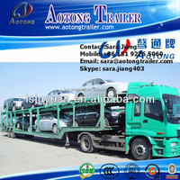Second hand 2 axles 8 units vehicle transporting used car carrier chaasis/trailer for sale