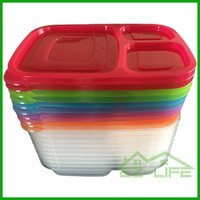 Customized BPA free plastic colorful 3 compartments food container