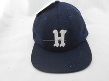 High Quality Navy Blue Wool Cap Leather Strap Caps And Hats