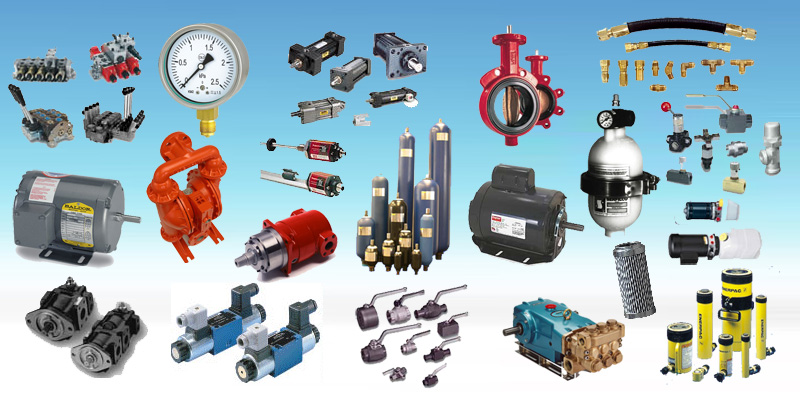 All Hydraulics, accumulator, motor, pump, valve, cylinder, accessories, etc