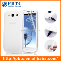 Set Screen Protector And Case For Samsung Galaxy S3 I9300 , White Mobile Silicone Cover